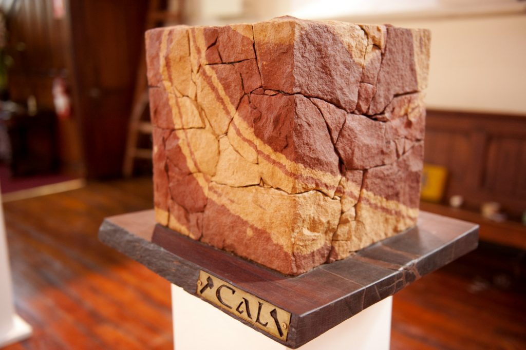 The Cube sandstone sculpture by Cal the Stoner
